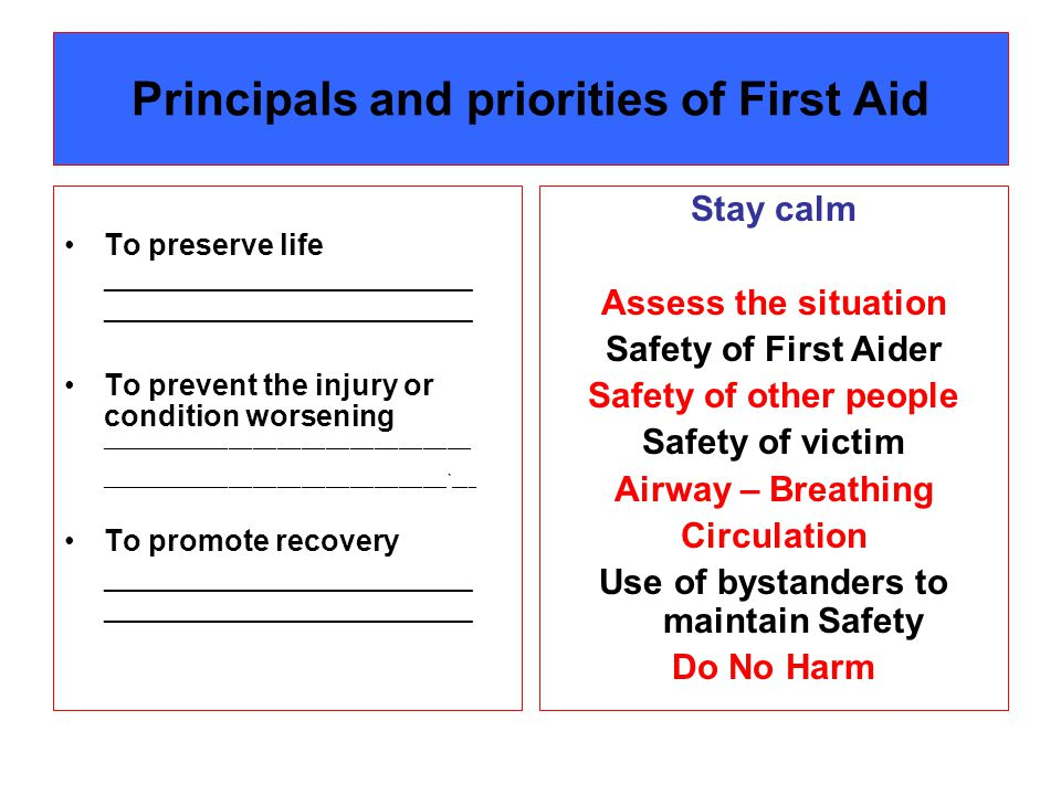 Principals and priorities of First Aid