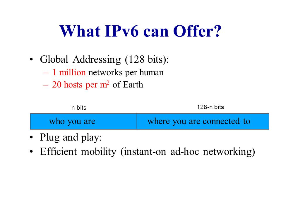 What IPv6 can Offer Global Addressing (128 bits): Plug and play: