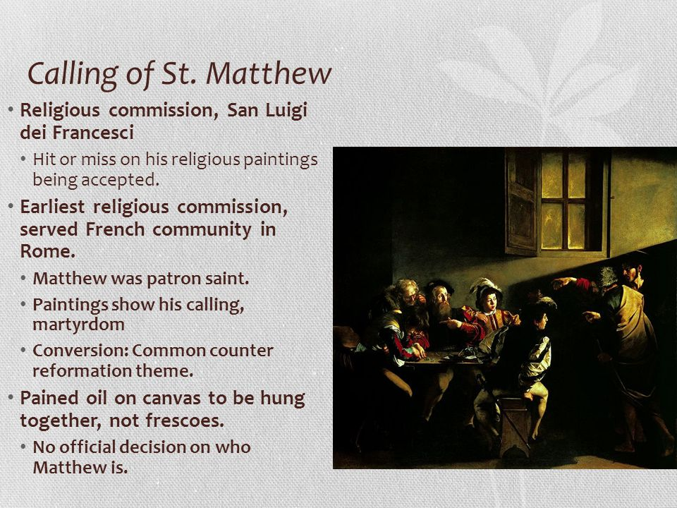 Calling of St. Matthew Religious commission, San Luigi dei Francesci