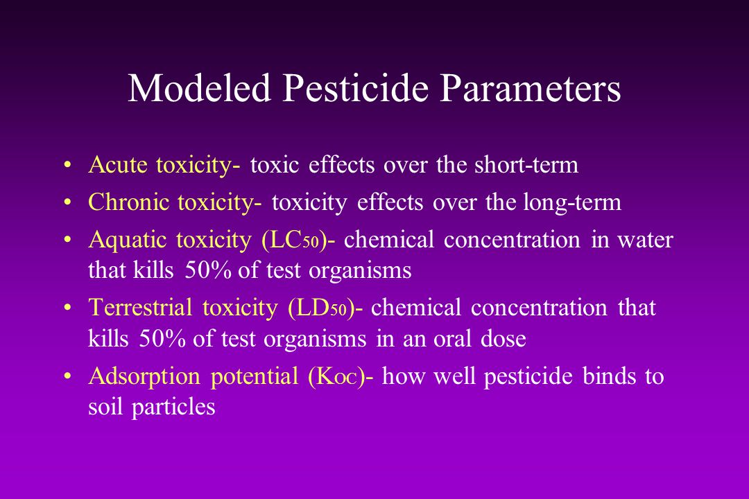 Modeled Pesticide Parameters