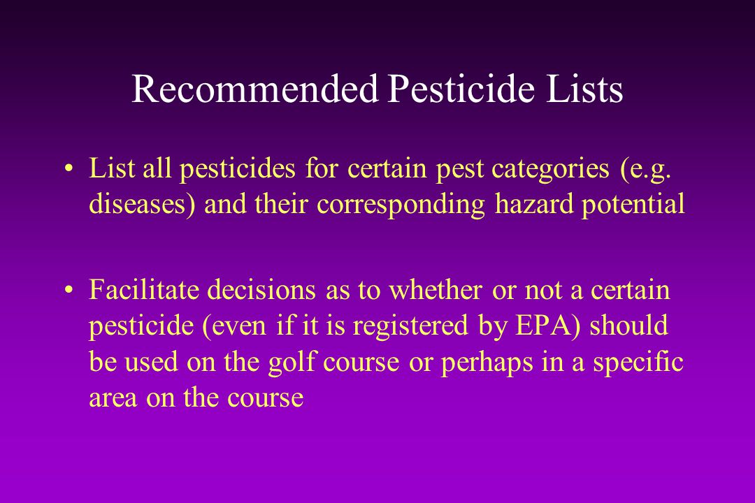 Recommended Pesticide Lists