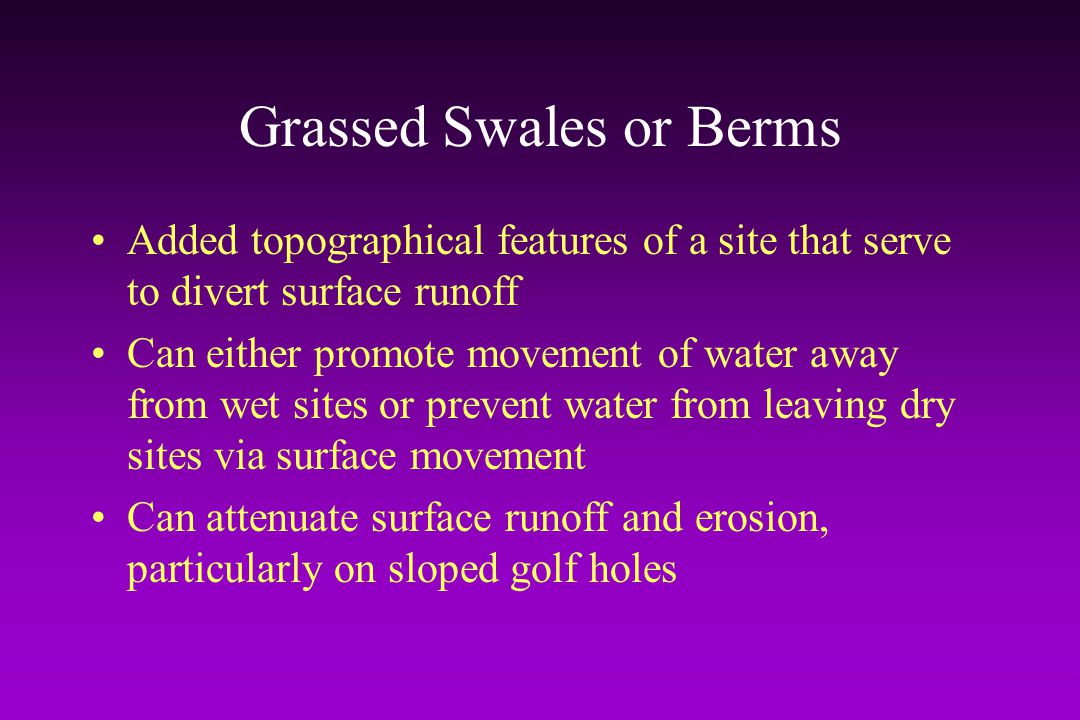 Grassed Swales or Berms