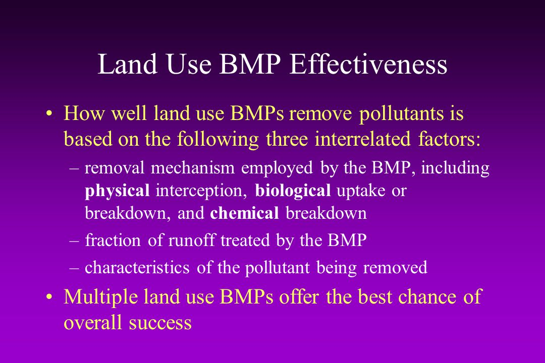 Land Use BMP Effectiveness
