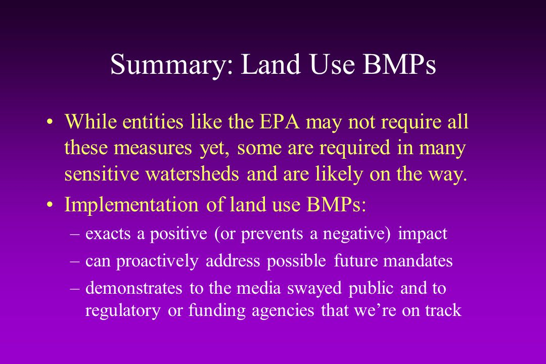 Summary: Land Use BMPs
