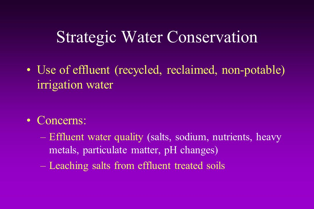Strategic Water Conservation