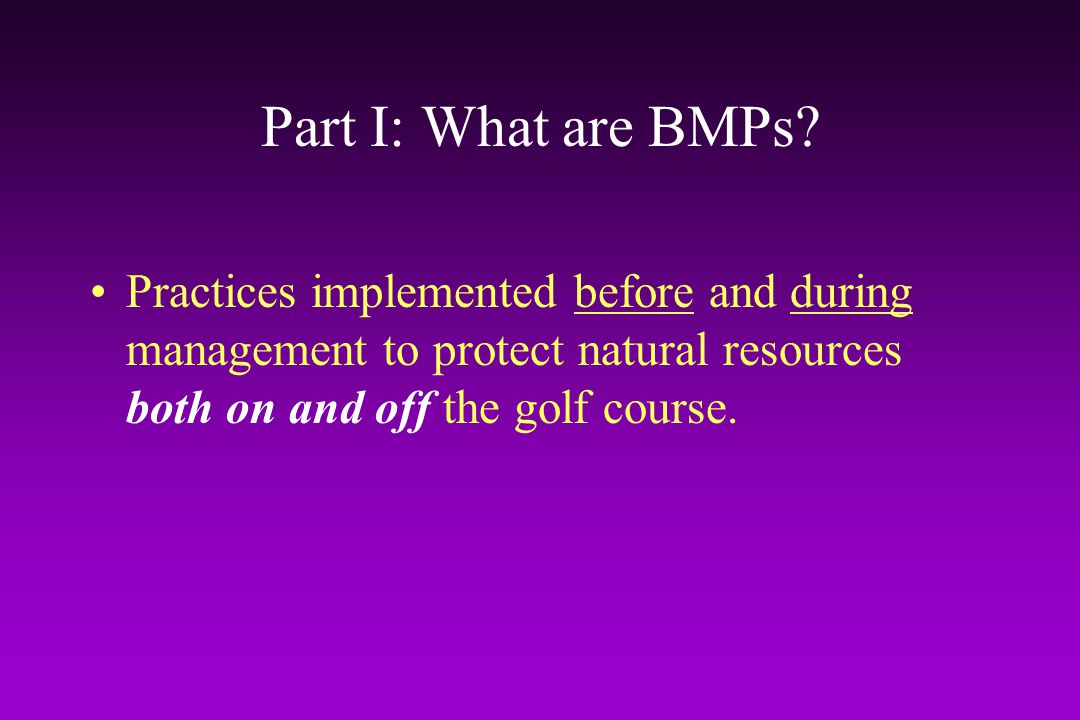 Part I: What are BMPs.