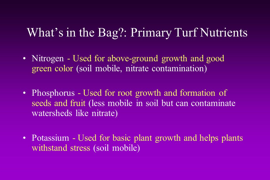 What's in the Bag : Primary Turf Nutrients