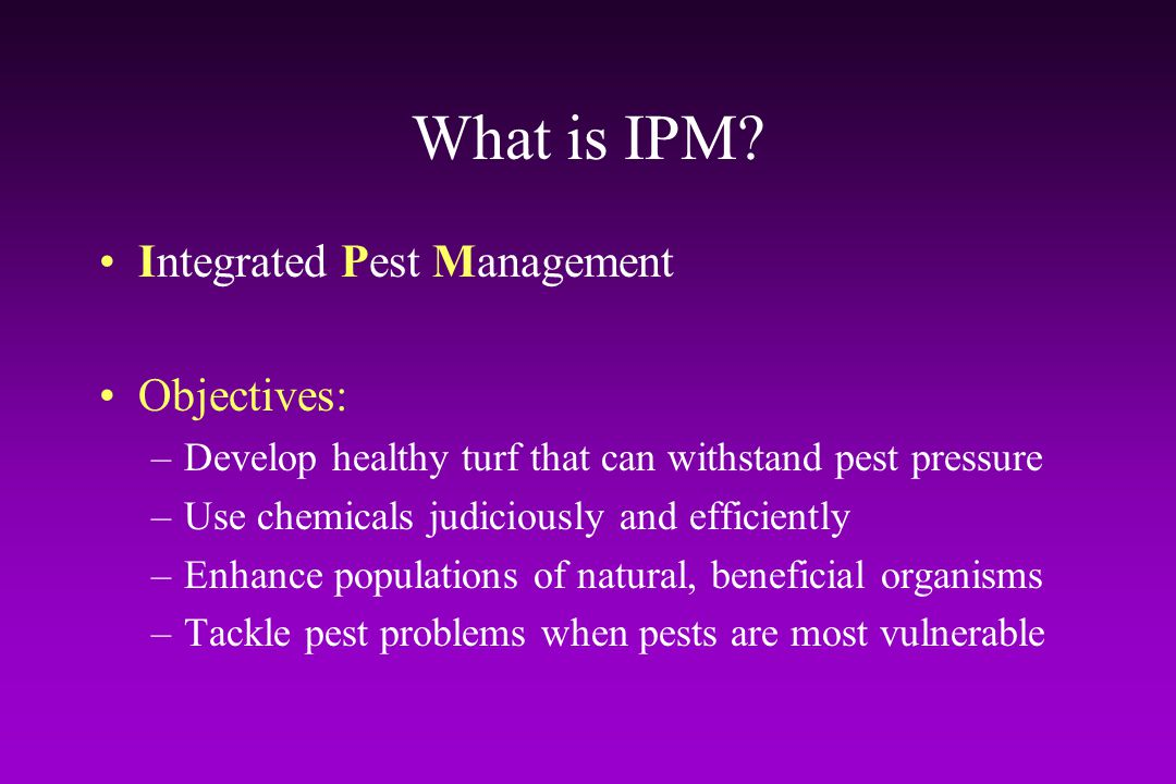 What is IPM Integrated Pest Management Objectives: