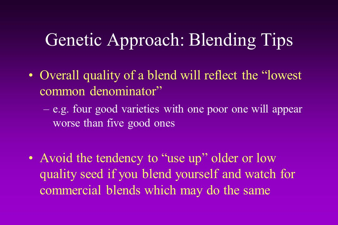 Genetic Approach: Blending Tips