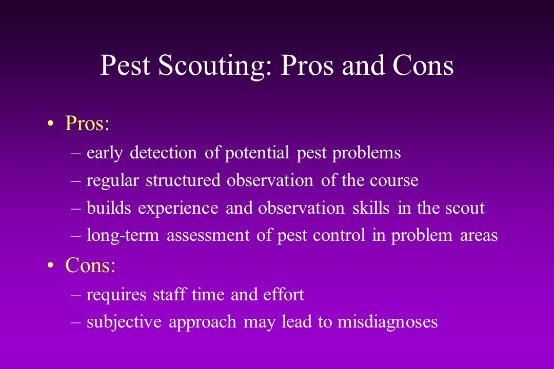 Pest Scouting: Pros and Cons