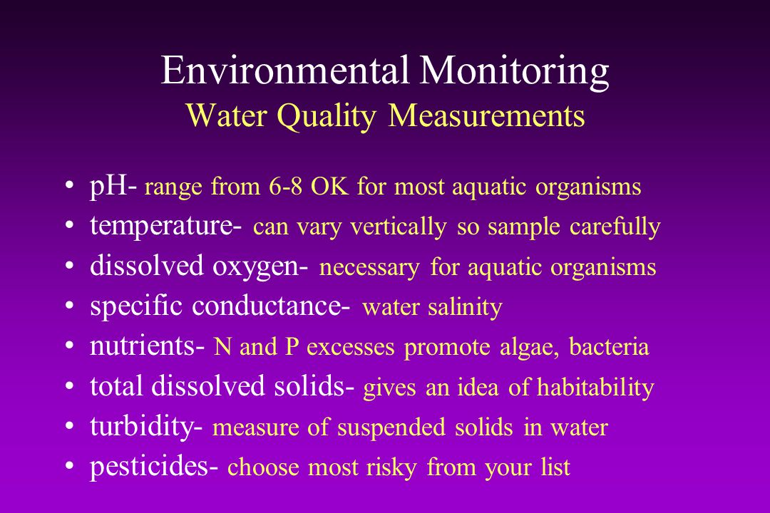 Environmental Monitoring Water Quality Measurements