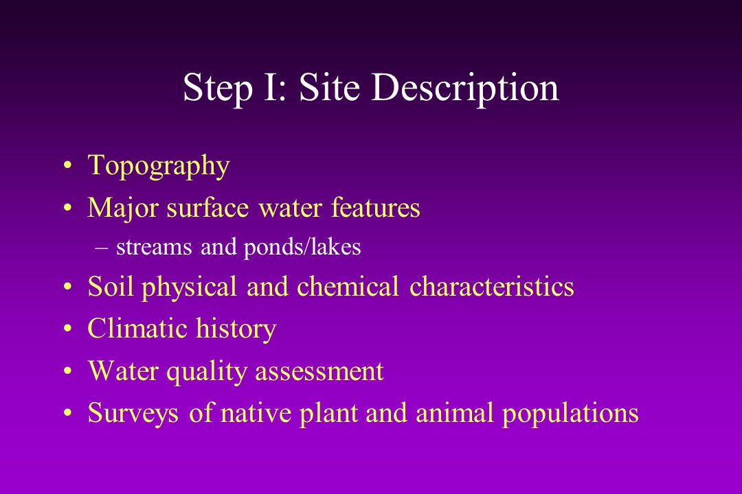 Step I: Site Description
