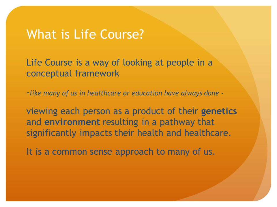 What is Life Course Life Course is a way of looking at people in a conceptual framework.