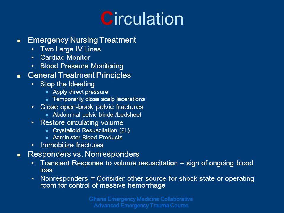 Circulation Emergency Nursing Treatment General Treatment Principles