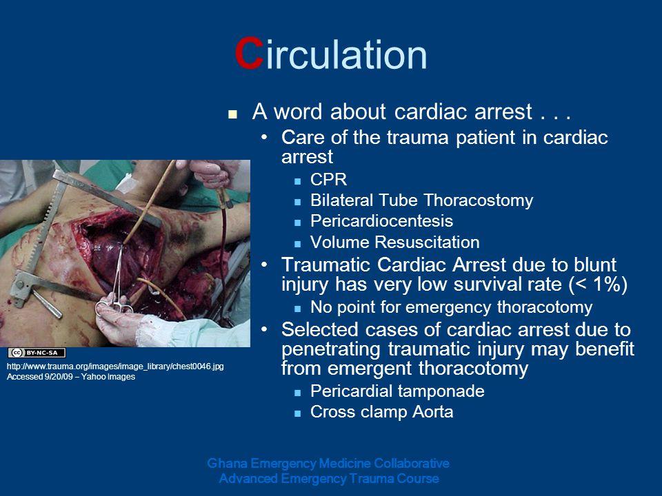 Circulation A word about cardiac arrest . . .