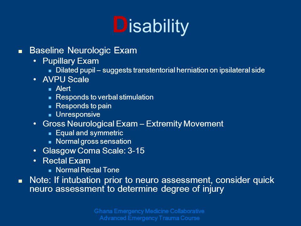 Disability Baseline Neurologic Exam