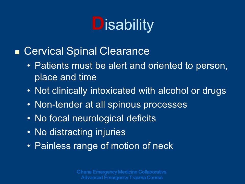 Disability Cervical Spinal Clearance