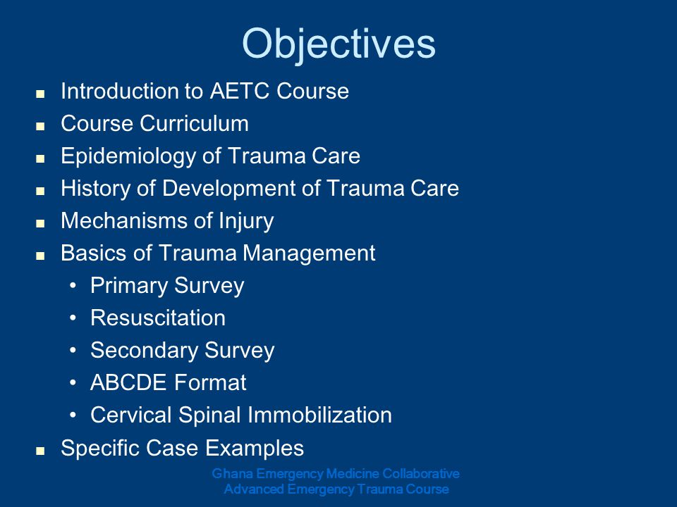 Objectives Introduction to AETC Course Course Curriculum