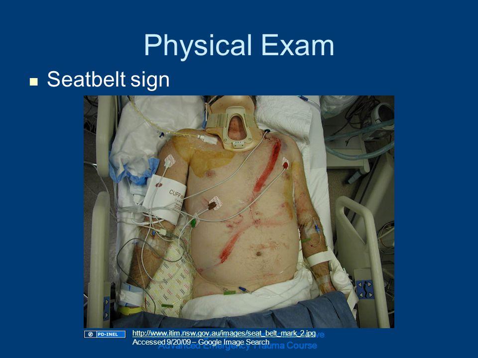 Physical Exam Seatbelt sign Ghana Emergency Medicine Collaborative