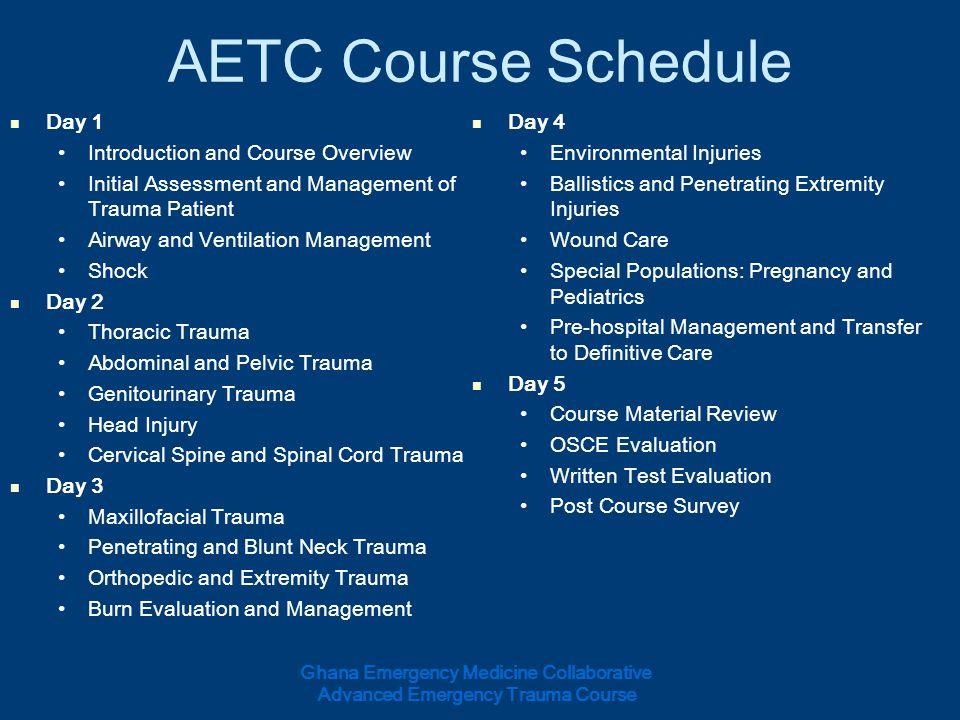 AETC Course Schedule Day 1 Day 4 Introduction and Course Overview