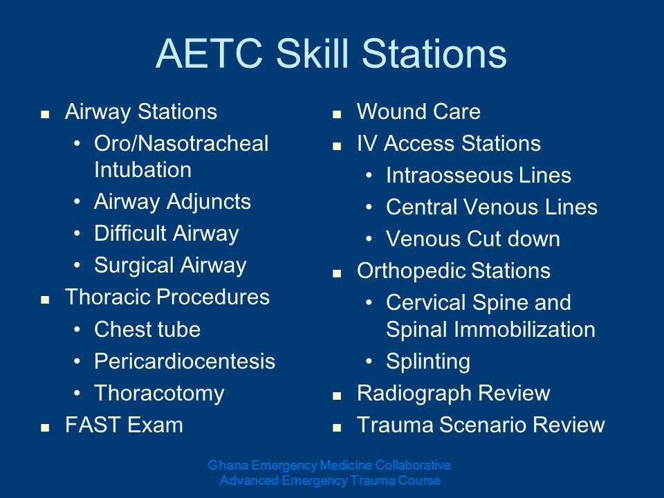AETC Skill Stations Airway Stations Wound Care