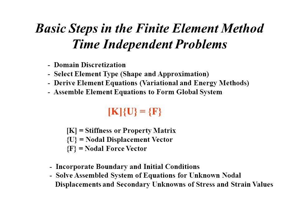 Basic Steps in the Finite Element Method Time Independent Problems