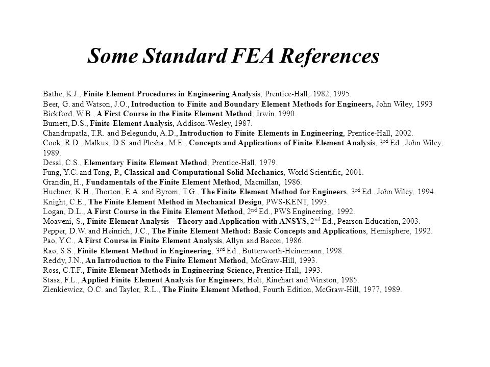 Some Standard FEA References