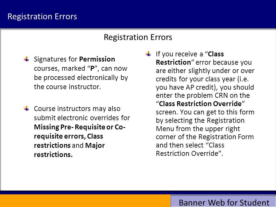 Registration Errors Registration Errors