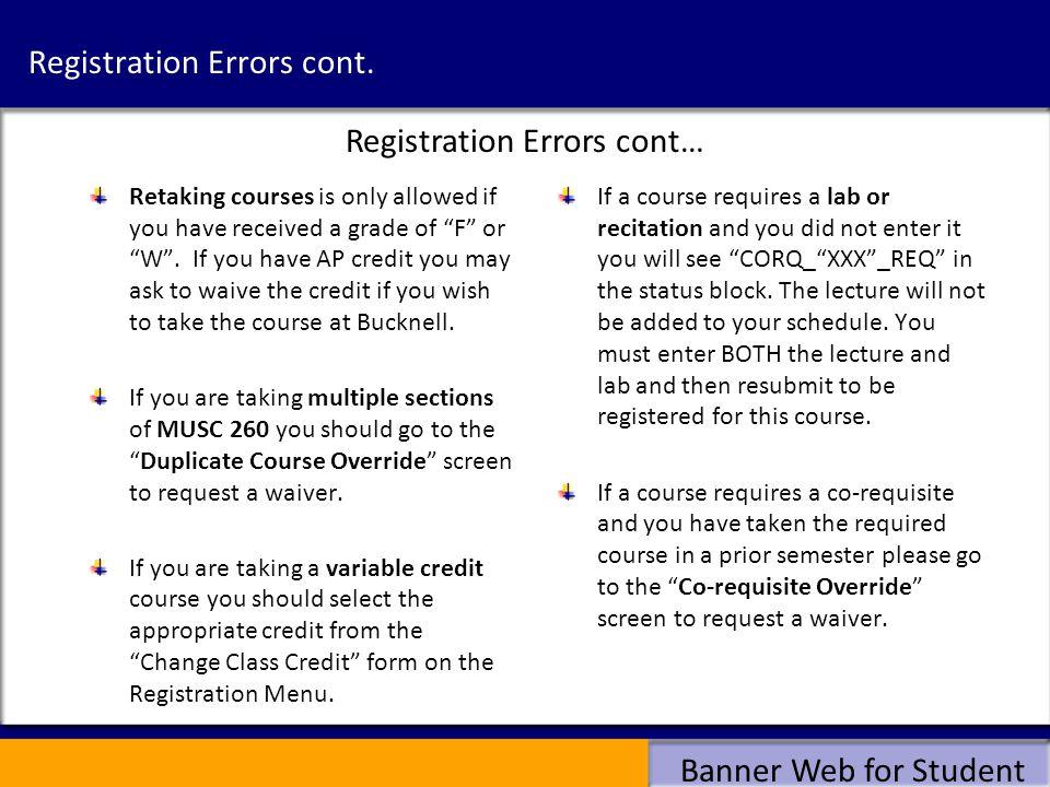 Registration Errors cont.