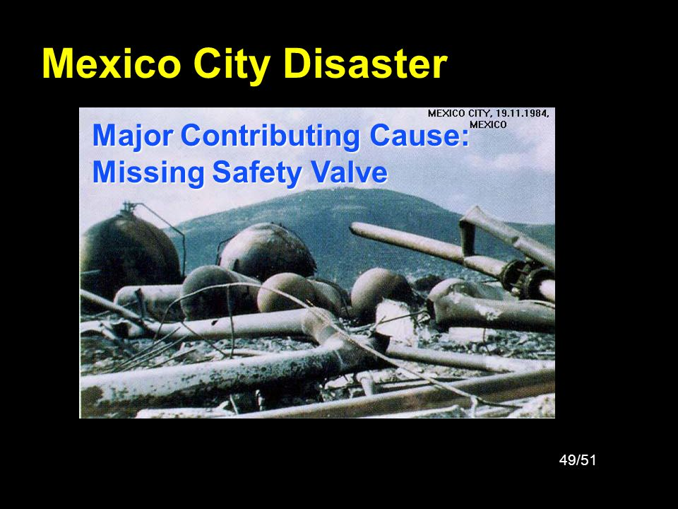 Mexico City Disaster Major Contributing Cause: Missing Safety Valve