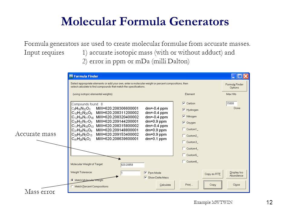 Molecular Formula Generators