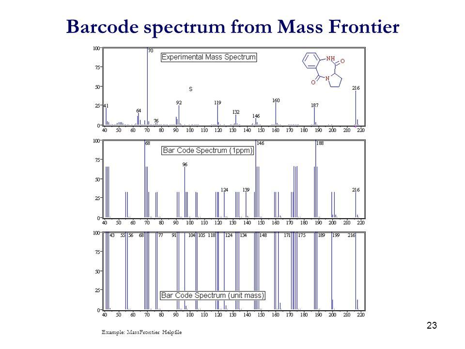 Barcode spectrum from Mass Frontier