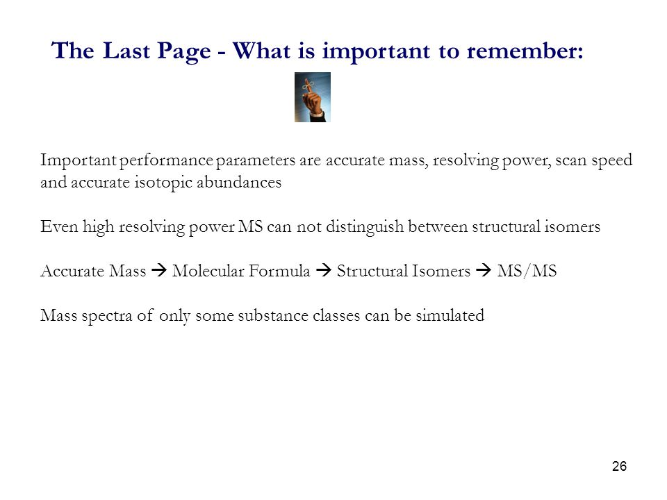 The Last Page - What is important to remember: