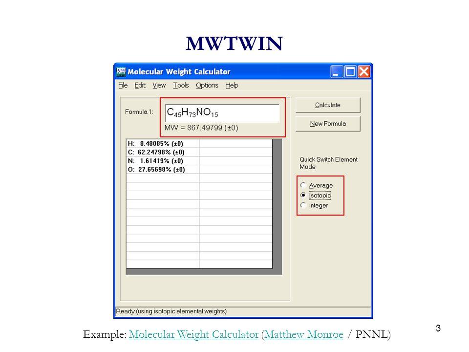 MWTWIN Example: Molecular Weight Calculator (Matthew Monroe / PNNL)