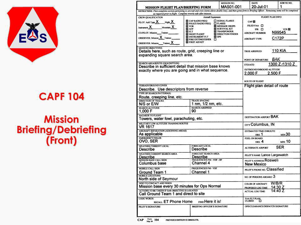 CAPF 104 Mission Briefing/Debriefing (Front)