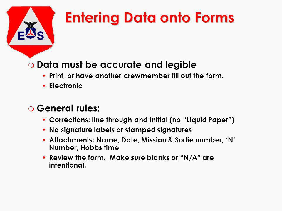Entering Data onto Forms
