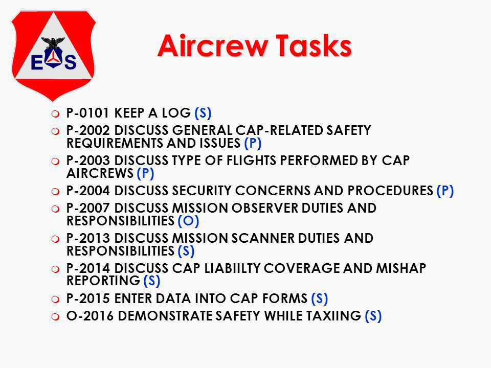 Aircrew Tasks P-0101 KEEP A LOG (S)