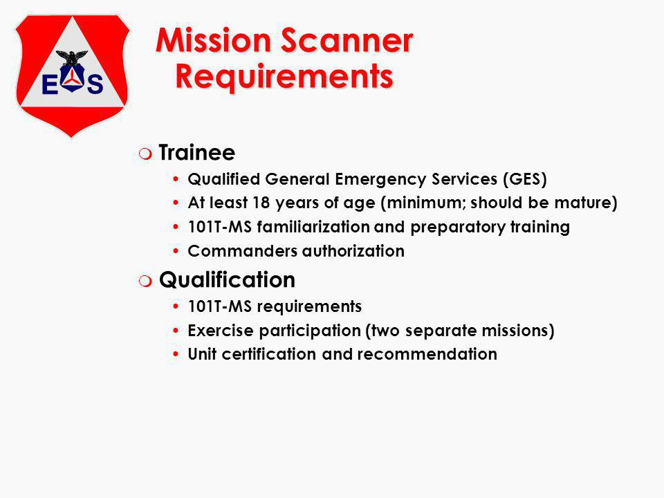 Mission Scanner Requirements