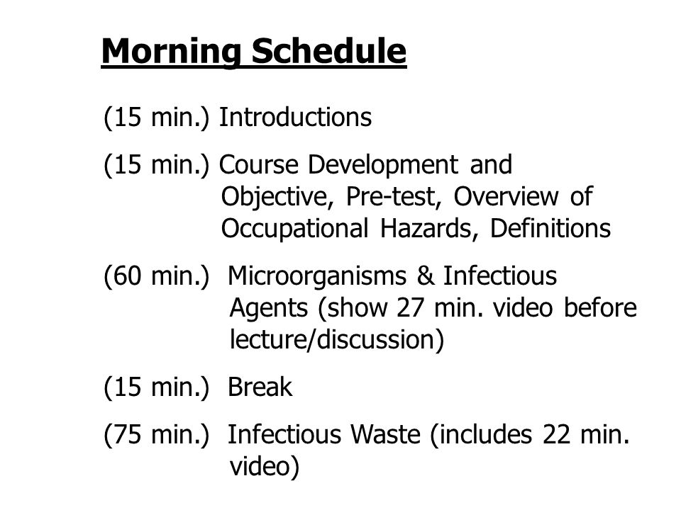Morning Schedule (15 min.) Introductions