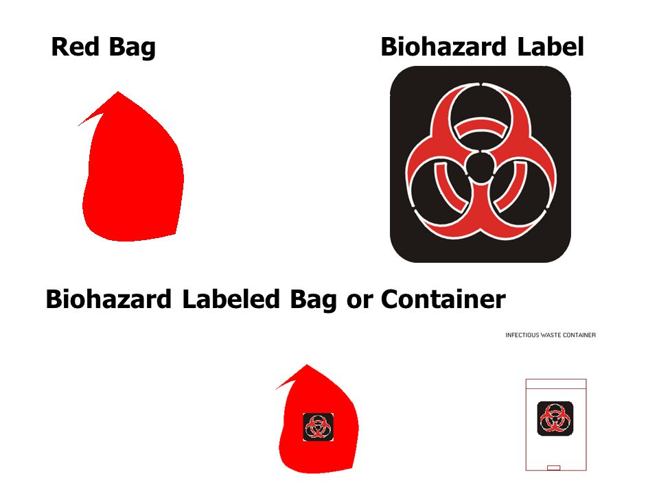 Red Bag Biohazard Label Biohazard Labeled Bag or Container