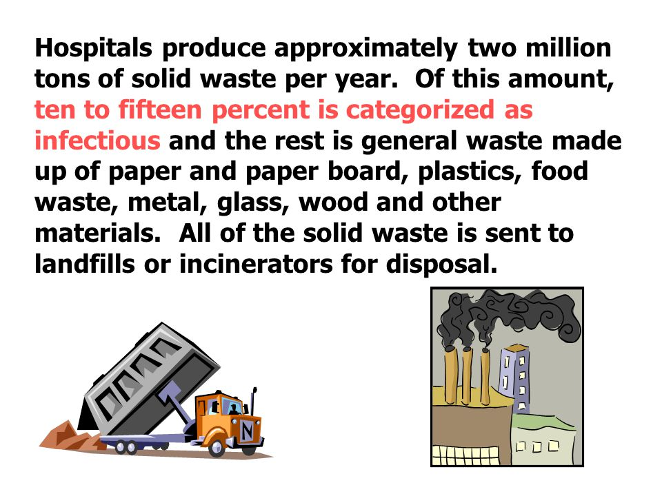 Hospitals produce approximately two million tons of solid waste per year.