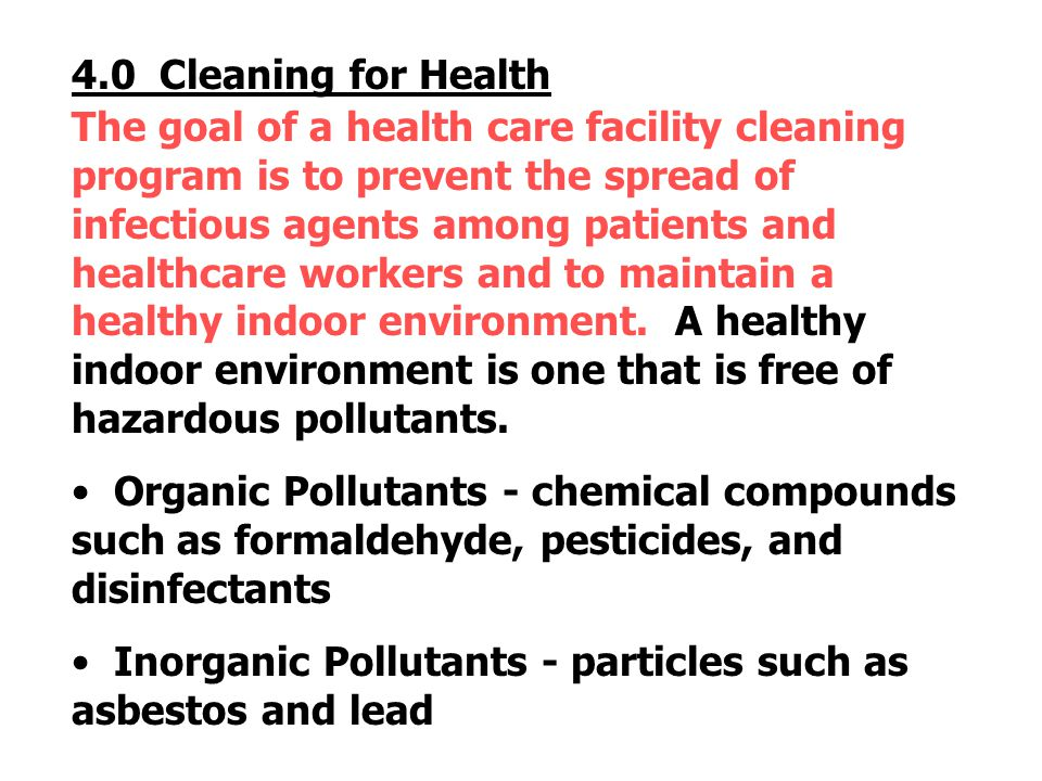 4.0 Cleaning for Health