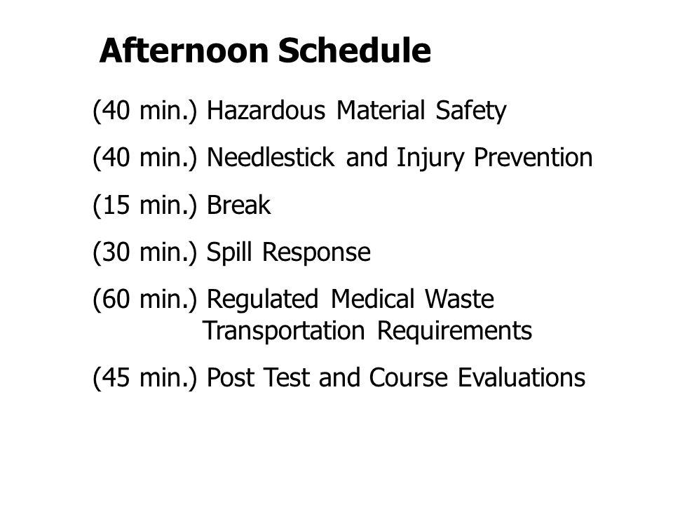 Afternoon Schedule (40 min.) Hazardous Material Safety