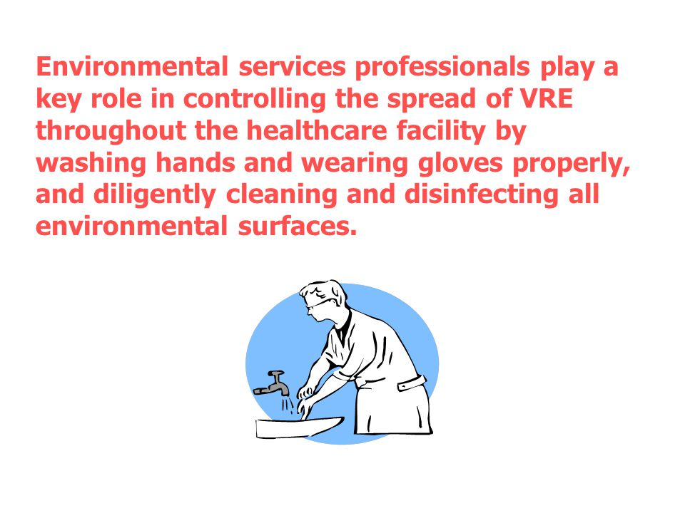 Environmental services professionals play a key role in controlling the spread of VRE throughout the healthcare facility by washing hands and wearing gloves properly, and diligently cleaning and disinfecting all environmental surfaces.