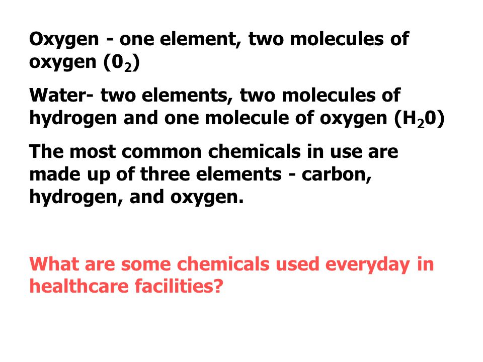 Oxygen - one element, two molecules of oxygen (02)