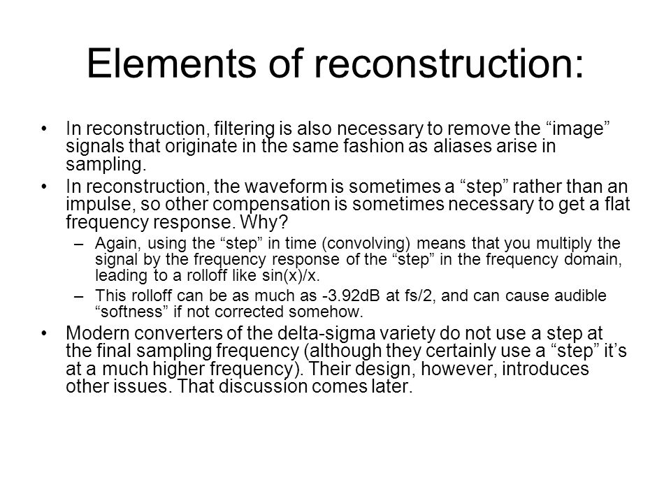Elements of reconstruction: