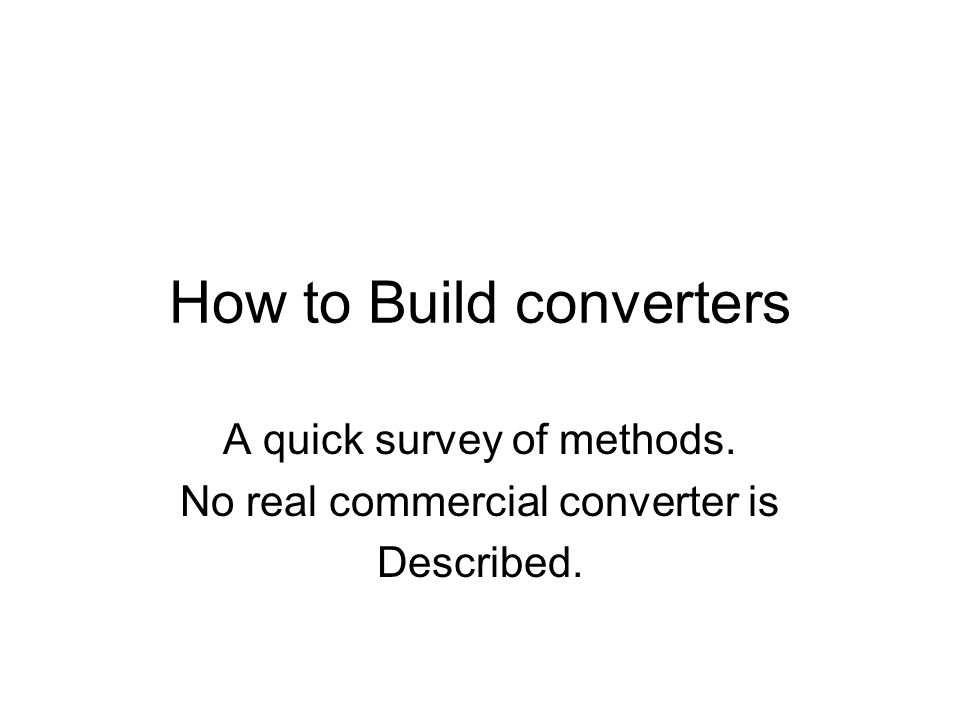 How to Build converters