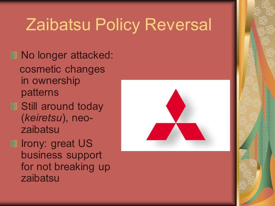Zaibatsu Policy Reversal