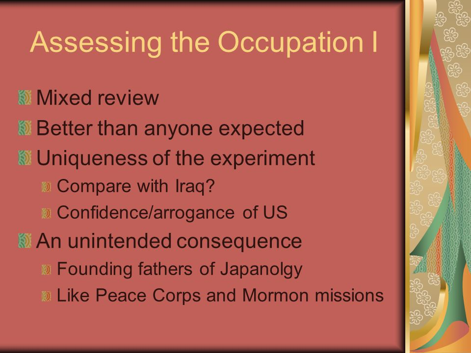 Assessing the Occupation I