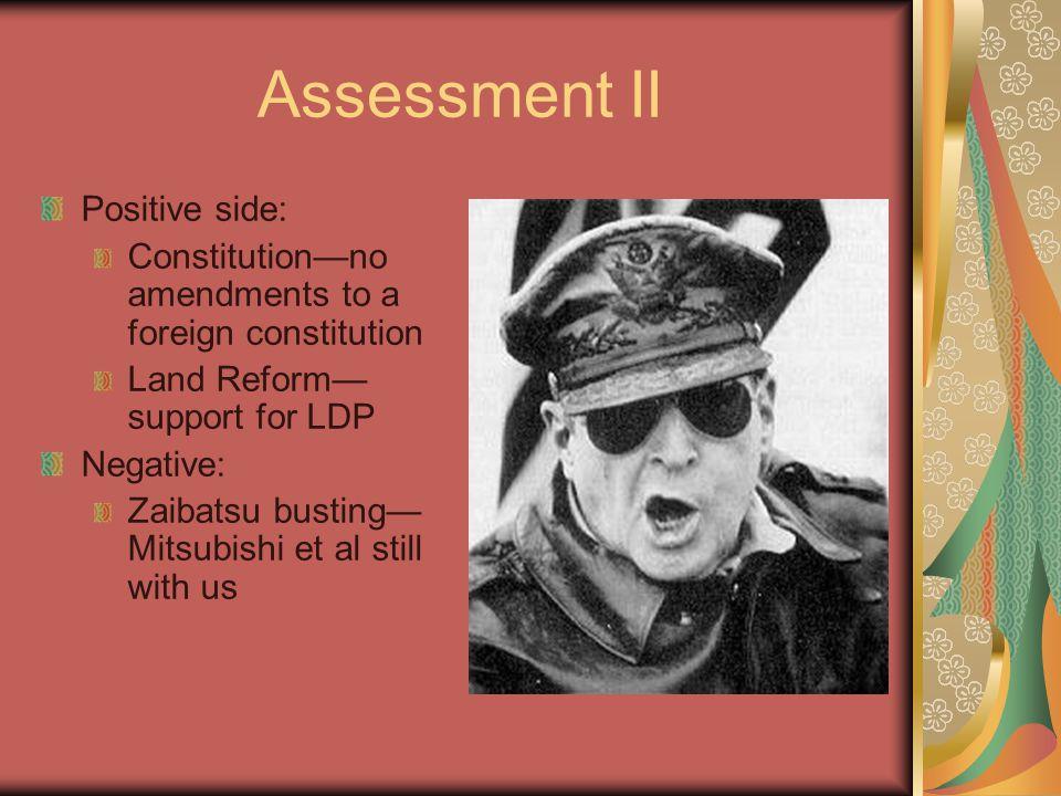 Assessment II Positive side: